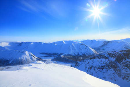 mountain valley in  a sunny day