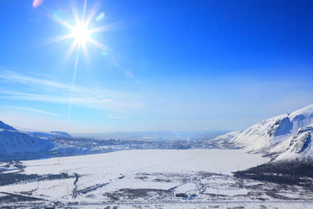 small town and lake in the russian arctic 写真素材