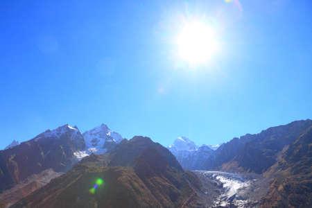 the first snow on caucasus ridge. late autumn 写真素材