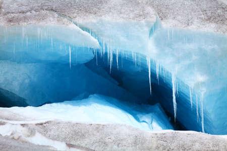 large crevasse in a melting glacier 写真素材