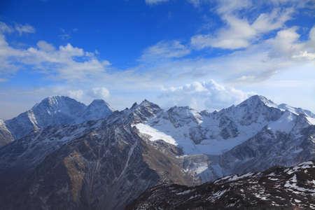 view of the main caucasus ridge from the slope of Elbrus 写真素材