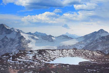 Glacial lake on a background of mountain peak
