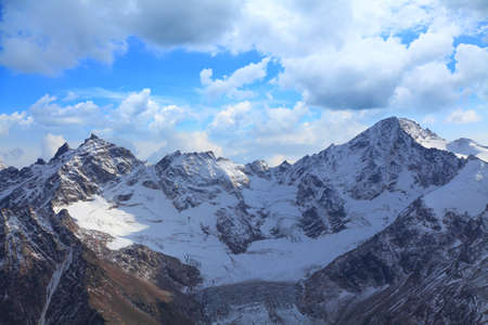 the first snow on mount Cheget. late autumn in the Caucasus