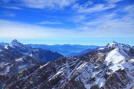 view of some tops of the main caucasus ridge in winter