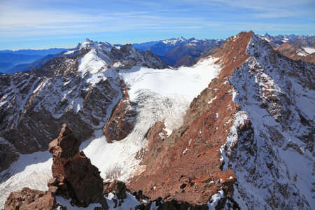 view of some tops of the main caucasus ridge during winter