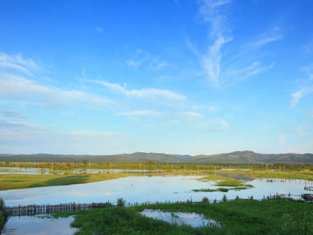 the valley of the Ingoda river during the flood 写真素材