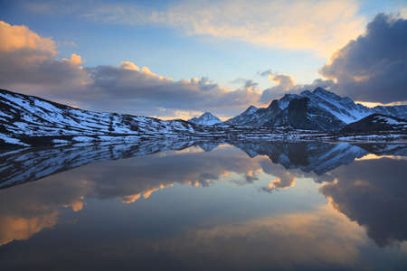 Glacial lake during sunset. Caucasus, southern slope of elbrus