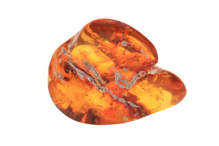 piece of the amber on a white background isolated