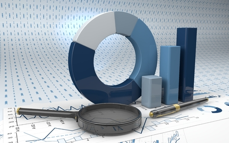 finance background: Charts Financial Analysis  with pen and magnifying glass Stock Photo