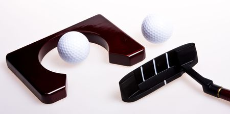 allocated: Accessories for game in golf Stock Photo