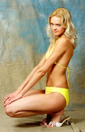 Young, beautiful, harmonous, blonde sexual photo