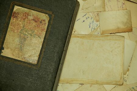 Structure consisting of old, fragmentary, dirty photos photo