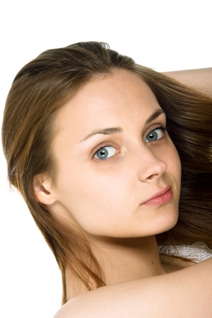 allocated on white: Picture of the young, beautiful  girl Stock Photo