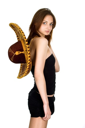 The young, beautiful girl in sombrero