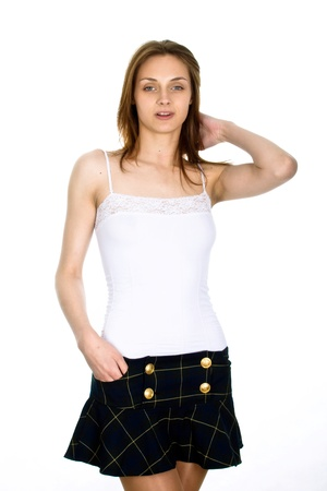 clothes interesting: Picture of the young, beautiful  girl Stock Photo