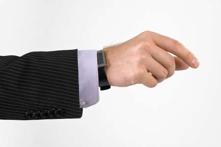 well shaped man's hand holding something isolated over white