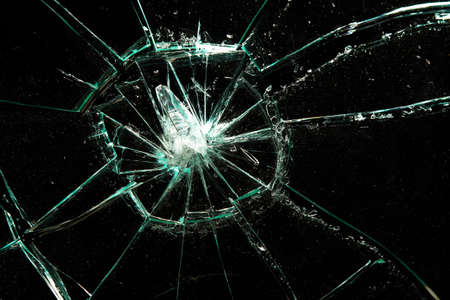 broken glass on a black background Stock Photo - 7842648