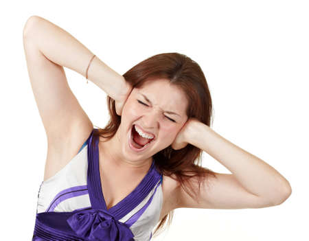 young screaming girl holding her head Stock Photo - 7860216