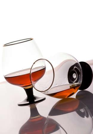 Two brandy glasses on a white background Standard-Bild