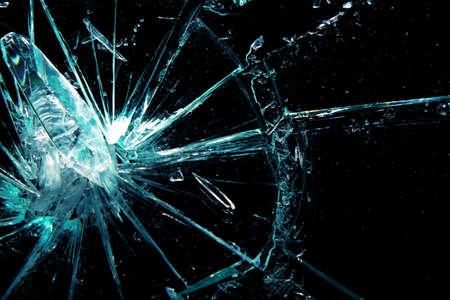 windshield: broken glass on a black background Stock Photo