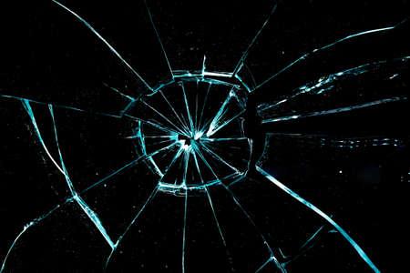 broken glass on a black background photo