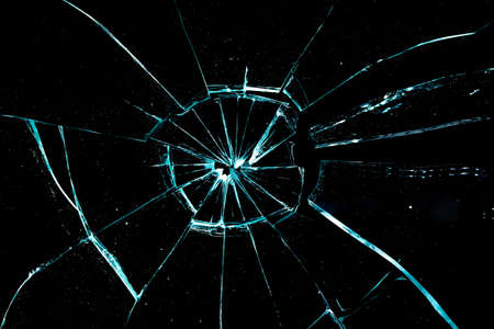 broken glass on a black background photo