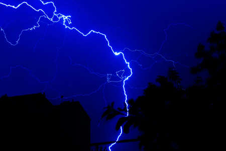 forked lightning at night photo