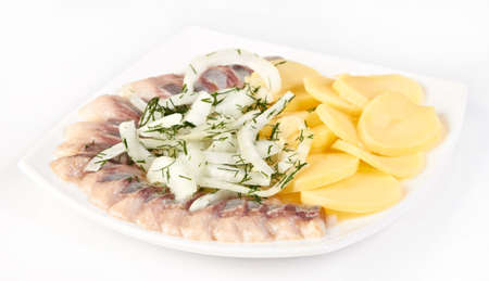 appetiser: Salted herring slices with onion and boiled potato