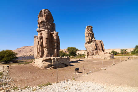 Giant statues near the Kings Valley, Luxor, Egypt Editorial