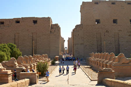 Alley of ram-headed sphinxes in front of Karnak temple, Egypt Editorial