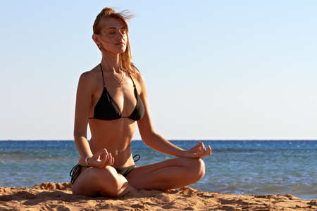 Silhouette of woman in yoga lotus meditation position back to seaside Stock Photo - 12249075
