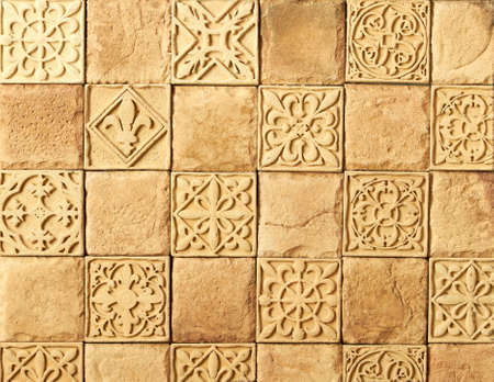 Mosaic tiles with different ornaments as background