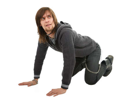 Man standing down on all fours on white background