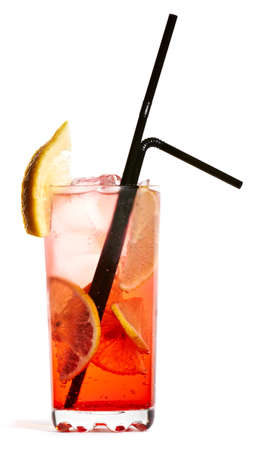 Vodka tonic cocktail isolated on white background