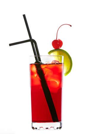 grenadine: Singapore sling cocktail isolated on white background Stock Photo