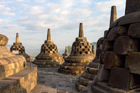 the stupa: Borobudur temple stupa row in Yogyakarta, Java, Indonesia.