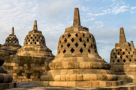 Borobudur tempel stupa's de omgeving van Yogyakarta op het eiland Java, Indonesië Stockfoto