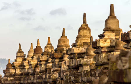 Borobudur temple stupa row in Yogyakarta, Java, Indonesia  photo