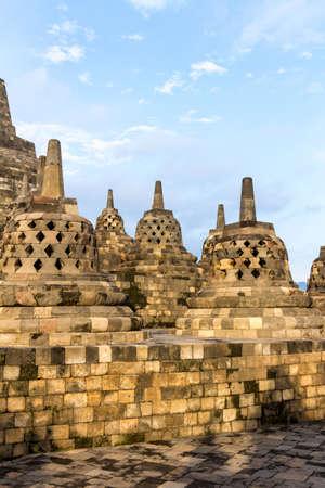 stupas: Borobudur temple stupas near Yogyakarta on Java island, Indonesia