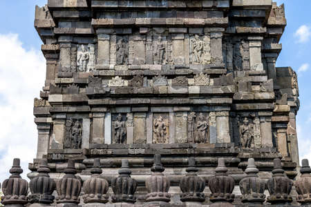 Bas-reliefs in Prambanan temple near Yogyakarta on Java island, Indonesia
