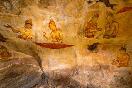 Ancient wall paintings of cloudy maidens at Sigiriya Lion