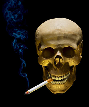 Human skull with cigarette in tooth as symbol of smoking danger photo