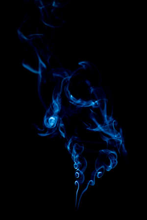 blue rings and curls of smoke on black background Stock Photo - 17967640