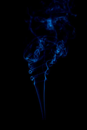 blue rings and curls of smoke on black background Stock Photo - 17967639