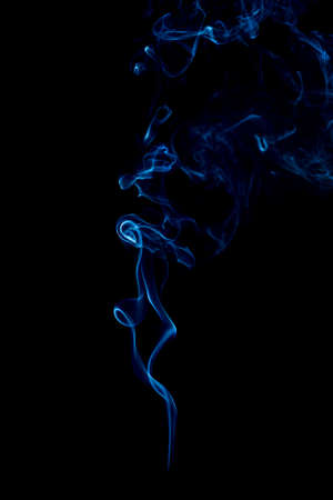 blue rings and curls of smoke on black background Stock Photo - 17967641