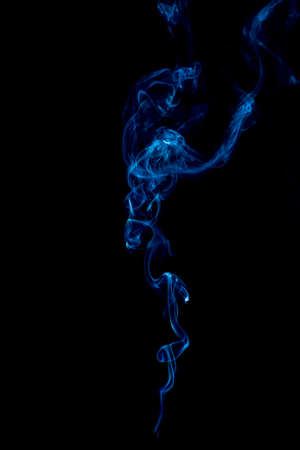 blue rings and curls of smoke on black background Stock Photo - 17967646