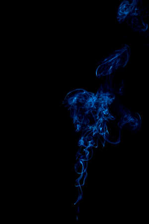 blue rings and curls of smoke on black background Stock Photo - 17967650