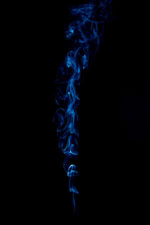 blue rings and curls of smoke on black background Stock Photo - 17967649