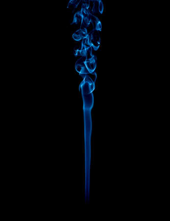blue rings and curls of smoke on black background Stock Photo - 17967638