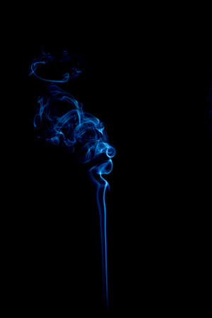blue rings and curls of smoke on black background Stock Photo - 17967642